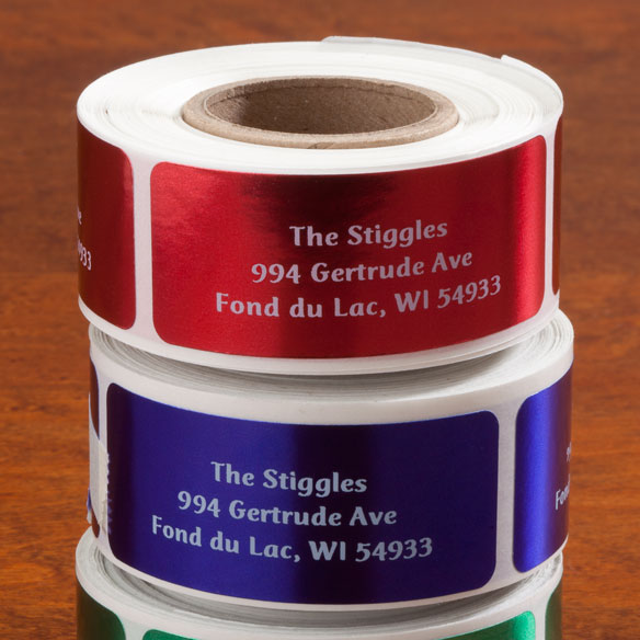 Jewel Tone Labels White Font Roll of 250