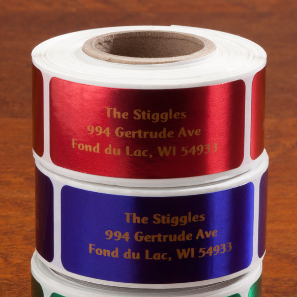 Jewel Tone Labels Gold Font Roll of 250