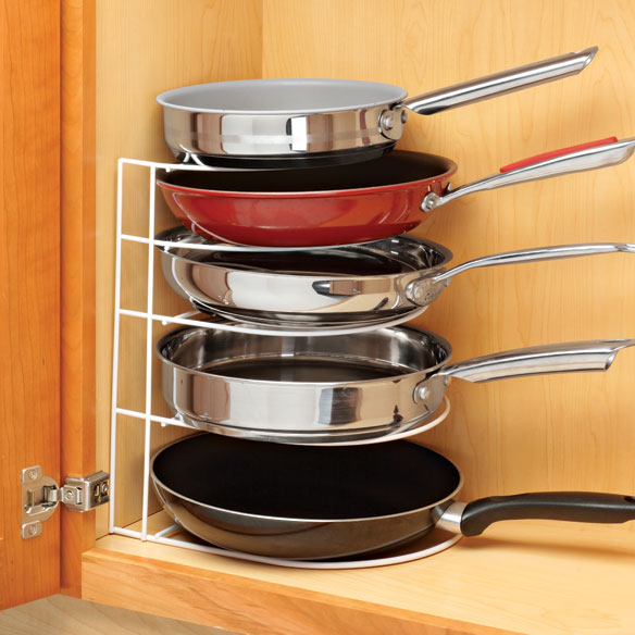 Kitchen pan organizer pantry frying pans storage rack for Kitchen colors with white cabinets with candle holder ebay
