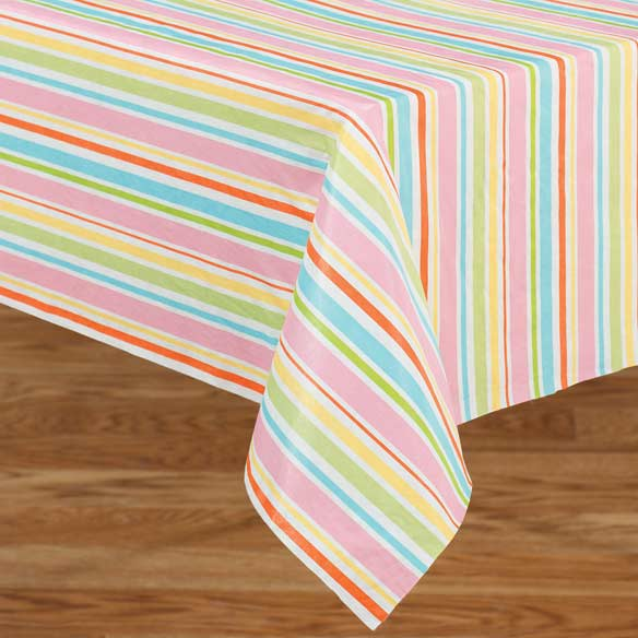 Pastel Easter Stripe Vinyl Table Cover
