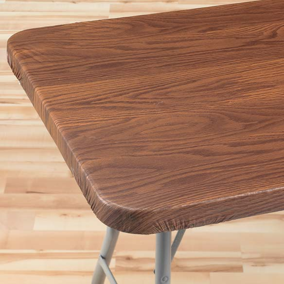 Wood Grain Elasticized Table Cover
