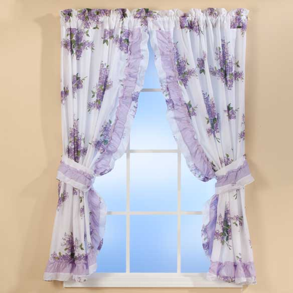 Lilac Ruffle Curtains - View 1