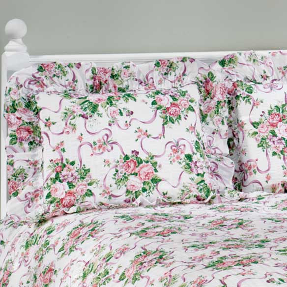 Ribbons & Roses Floral Plisse Pillow Shams