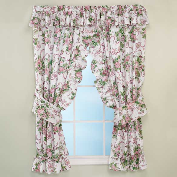 Ribbons & Roses Floral Plisse Curtains - View 1