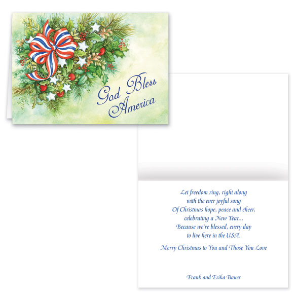 Patriotic Greenery Christmas Card - Set of 20