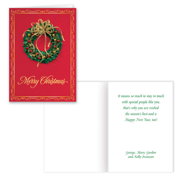 Satin Wreath Christmas Card Set of 20 - View 1