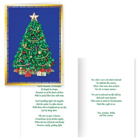 Satin Tree Christmas Card Set of 20