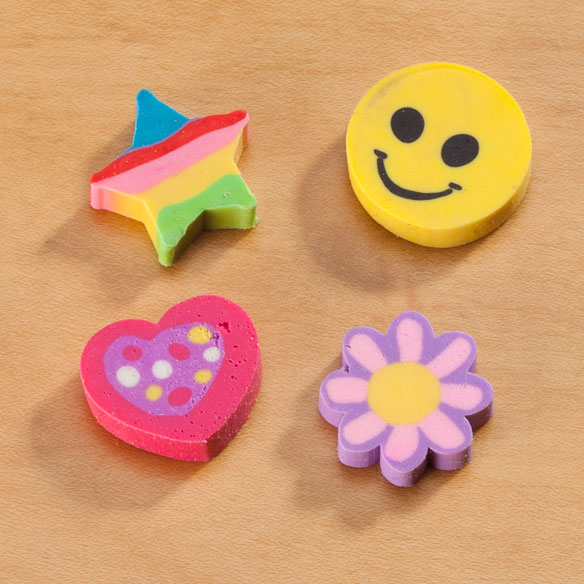 Smiley Face Erasers & Flower Erasers - Pack Of 36