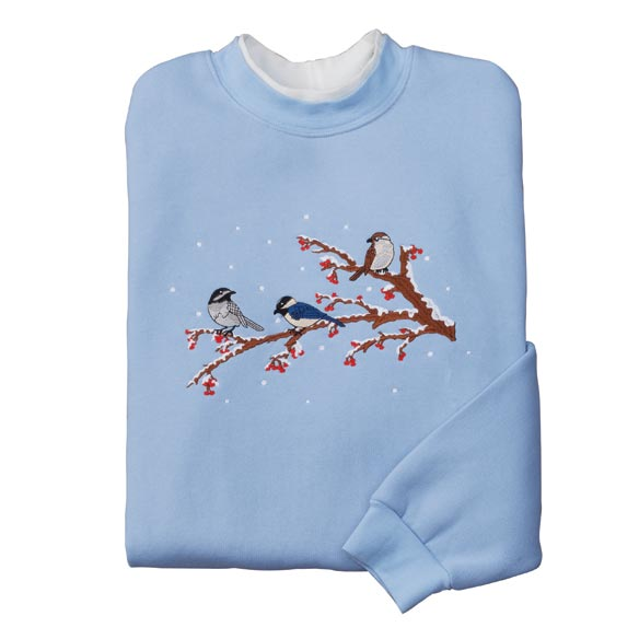 Birds On A Winter Branch Sweatshirt