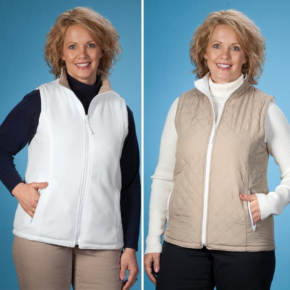 Reversible Quilted Zip Front Vest