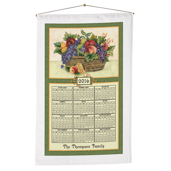 Personalized Antique Fruit Calendar Towel - View 1