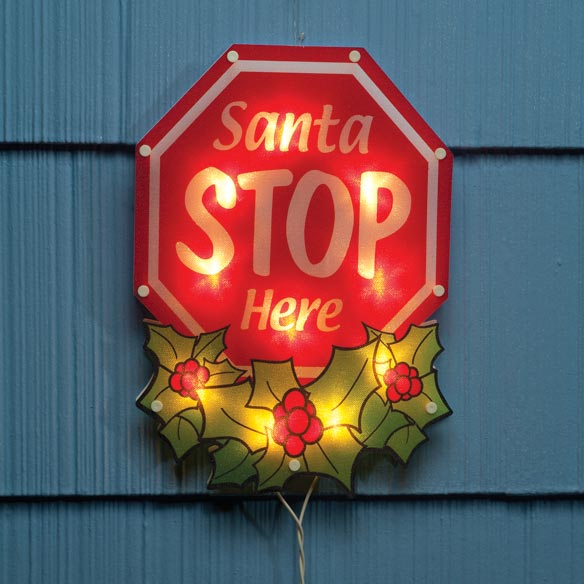 Shimmer Santa Stop Sign Light