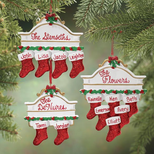 Personalized Christmas Mantel Stocking Ornaments - View 1
