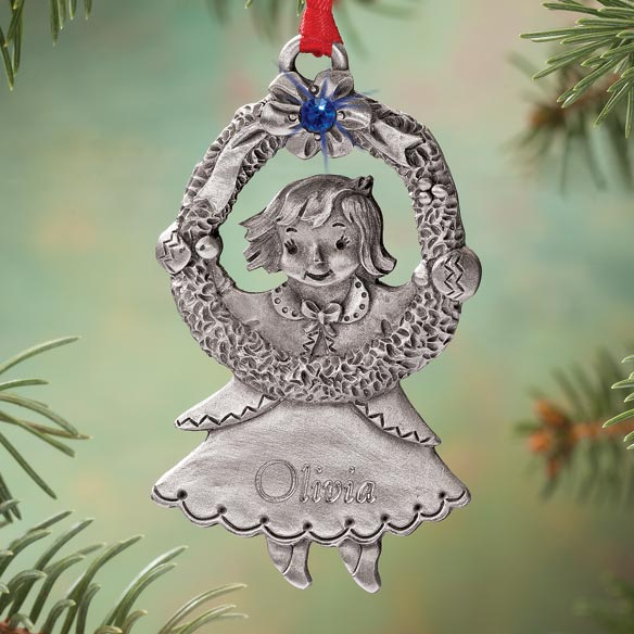 Personalized Pewter Birthstone Girl Ornament - View 1