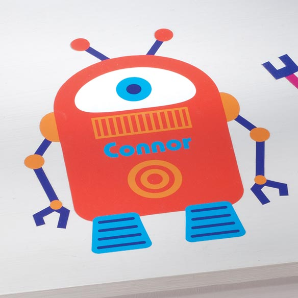 Personalized Orange Robot Décor Cling