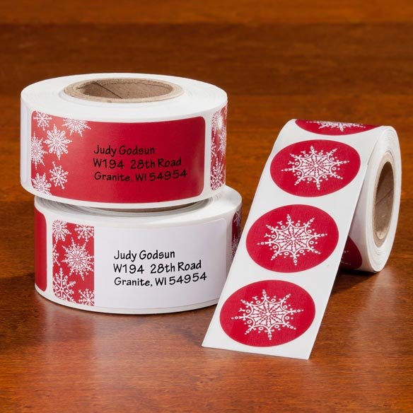 Large Print Red Snowflake Label and Seals Set