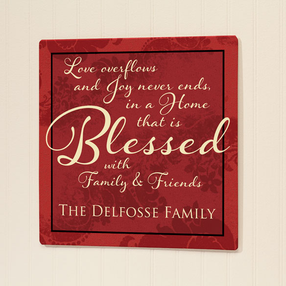 Personalized 12x12 Blessed Family Metal Wall Plaque - View 1