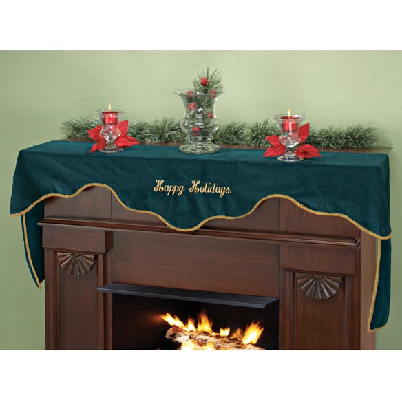 Happy Holidays Velvet Mantel Scarf