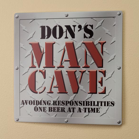 Personalized 12x12 Diamond Plate Man Cave Metal Wall Plaque
