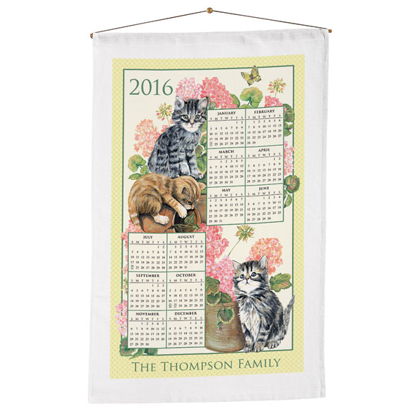 Personalized Curious Kittens Calendar Towel - View 1