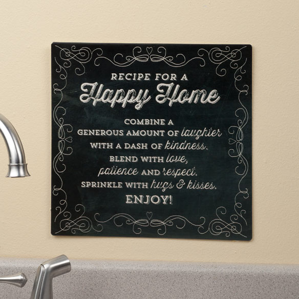 12 x 12 Recipe For  A Happy Home Metal Wall Plaque