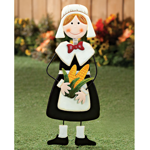 Pilgrim Girl Metal Yard Stake by Maple Lane Creations™