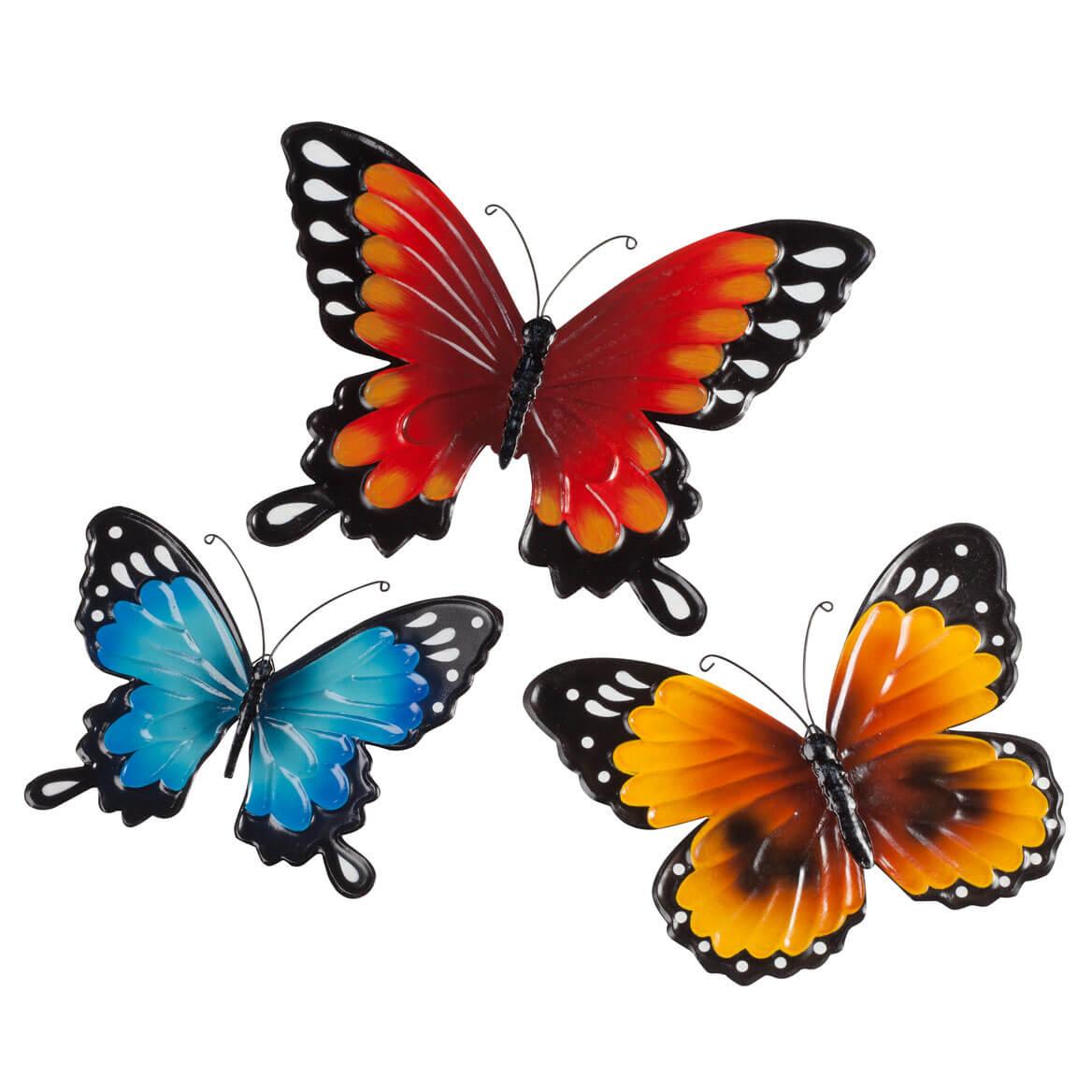 Metal Butterflies Set Of 3 Wall Art D 233 Cor Miles Kimball