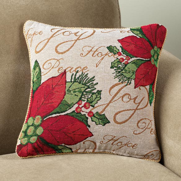 Holiday Needlepoint Poinsettia Pillow Cover