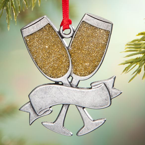 Pewter Champagne Glasses Ornament