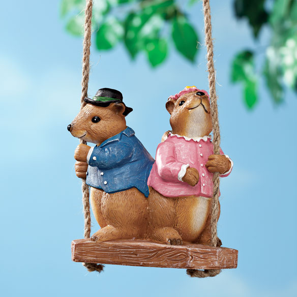 Swinging Squirrels Garden Figurine