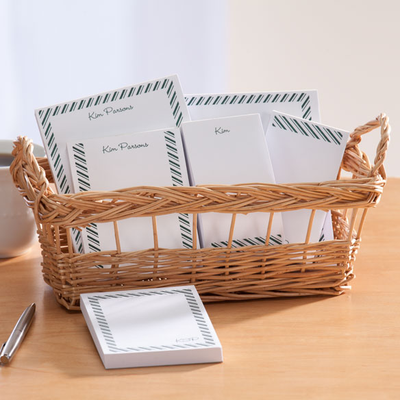 Personalized Diagonal Stripes Basketful of Notepads