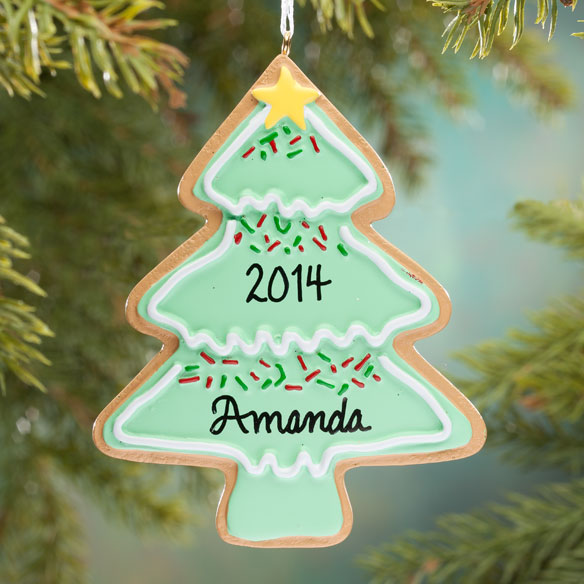 Personalized christmas tree christmas cookie ornament for Custom christmas tree ornaments