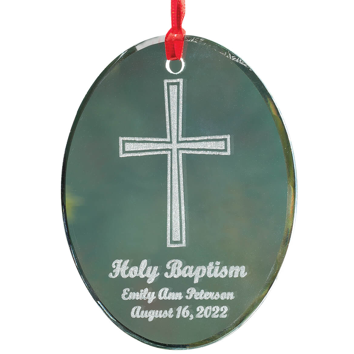 Engraved glass ornaments - Personalized Glass Baptism Ornament