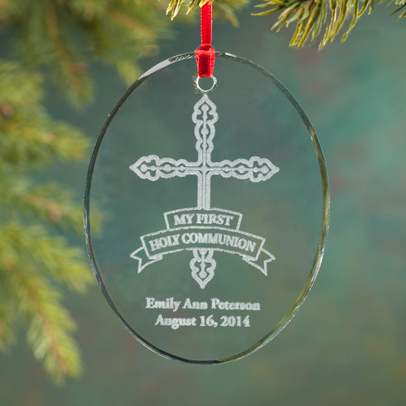 Personalized Glass First Communion Ornament