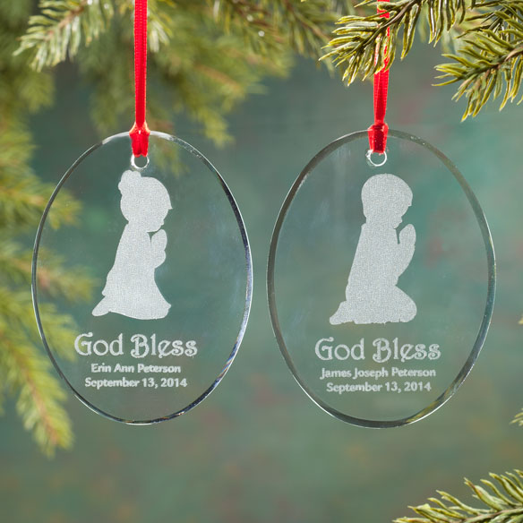 Personalized Glass Praying Child Ornament - View 1