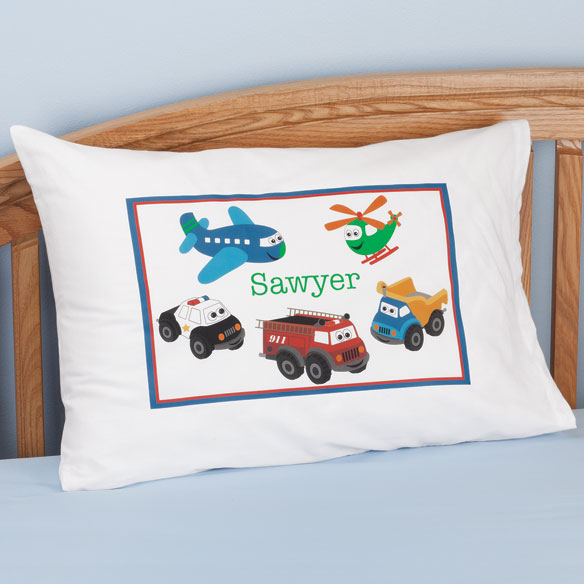 Personalized Cars & Airplanes Pillowcase
