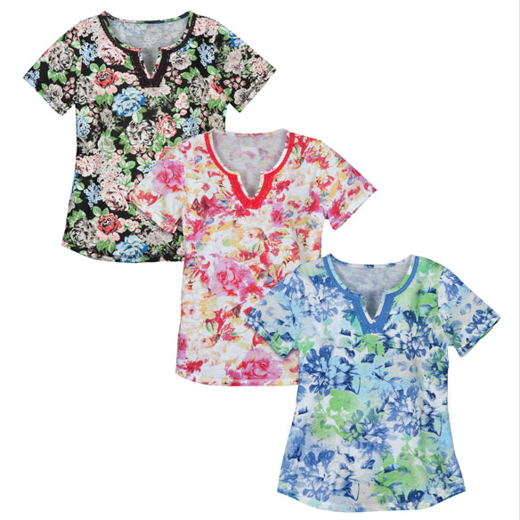 Floral V-Neck T-Shirt With Embroidery - View 1