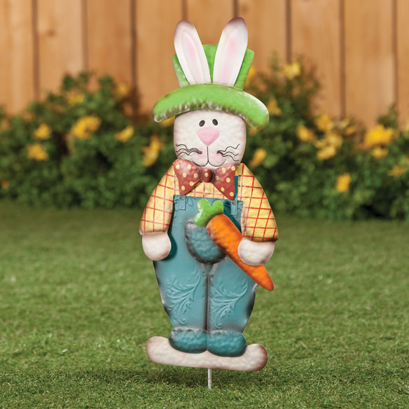 Metal Easter Bunny Boy Garden Stake - View 1