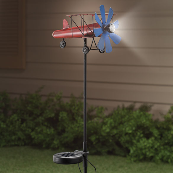 Solar Airplane Wind Spinner Stake by Maple Lane Creations