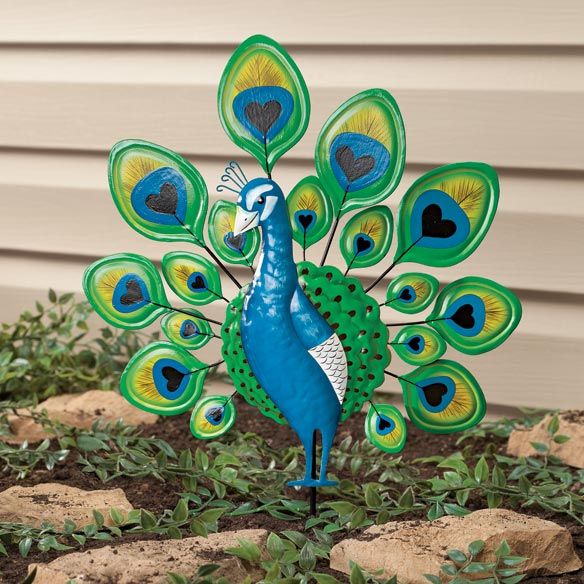 Peacock Lawn Stake by Maple Lane Creations - View 1