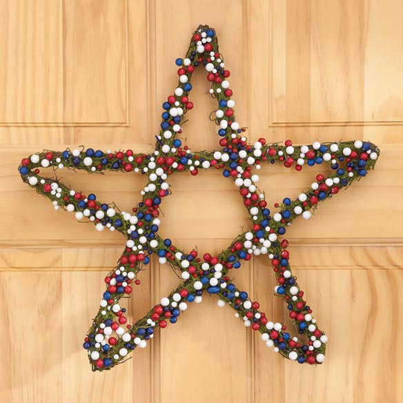 Grapevine Patriotic Berry Star Wreath