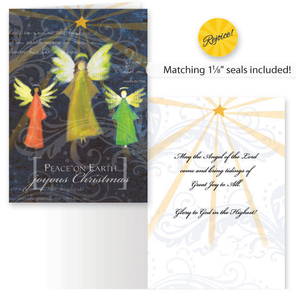 Joyous Angel Trio Non Personalized Christmas Card, Set of 20