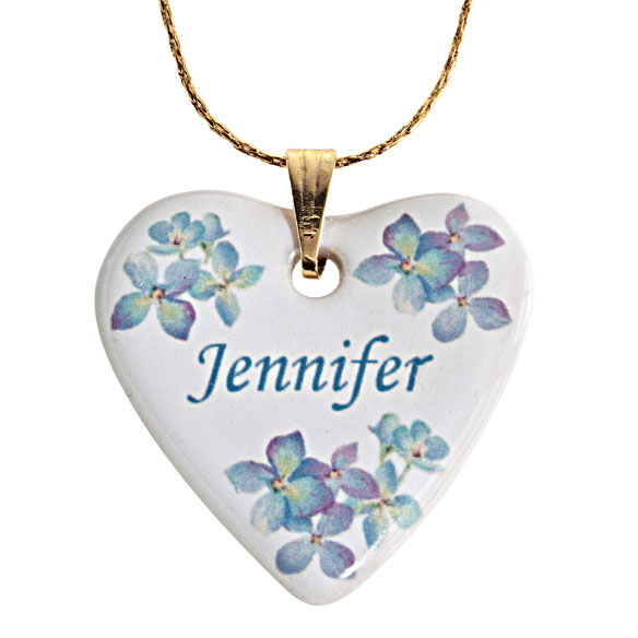 Personalized Porcelain Heart Necklace With Chain - View 1