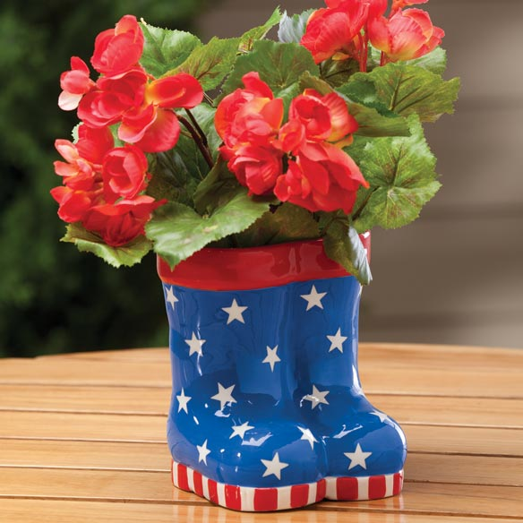 Patriotic Rain Boots Planter - View 1
