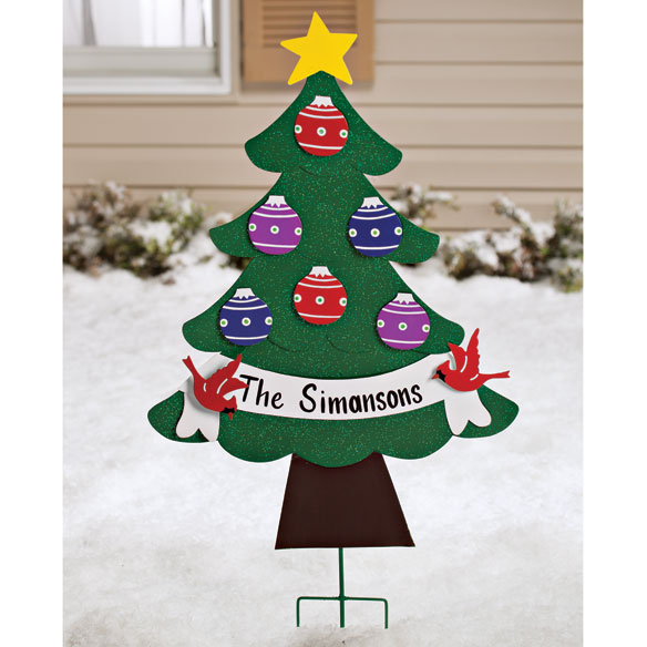 Personalized Metal Christmas Tree Lawn Stake by Maple Lane Creations™