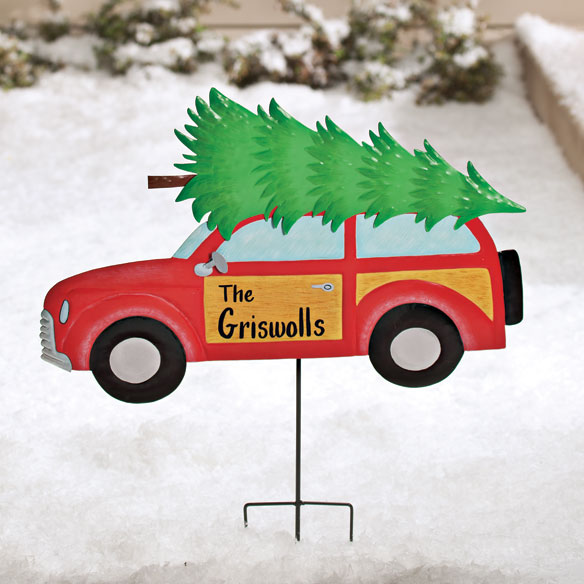 Personalized Woody Wagon Lawn Stake by Maple Lane Creations™ - View 1