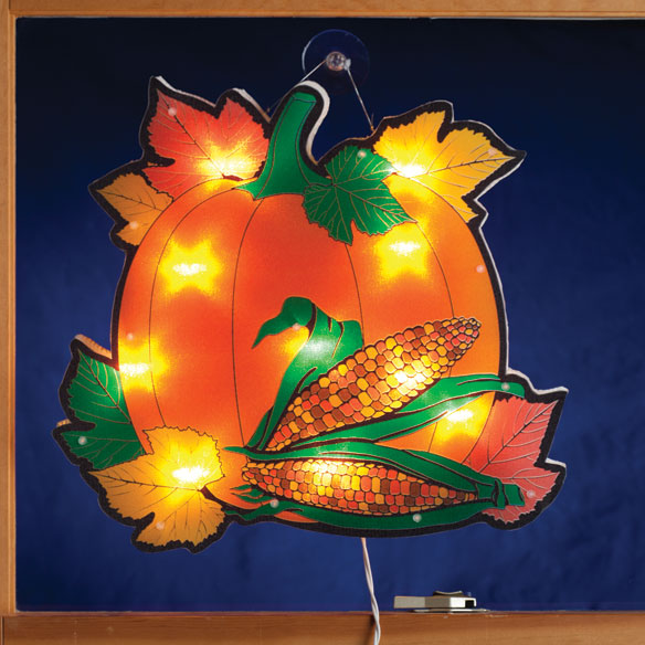 Pumpkin with Leaves Shimmer Light by Northwoods Illuminations™ - View 1