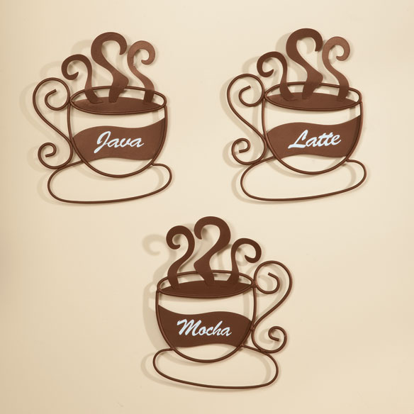 Coffee Espresso Latte Cafe Ivory Brown Kitchen Curtains: Metal Coffee Cup Wall Art, Set Of 3