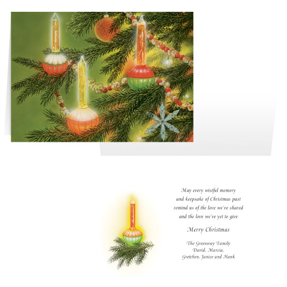 Nostalgic Bubblelight Personalized Christmas Card - Set of 20