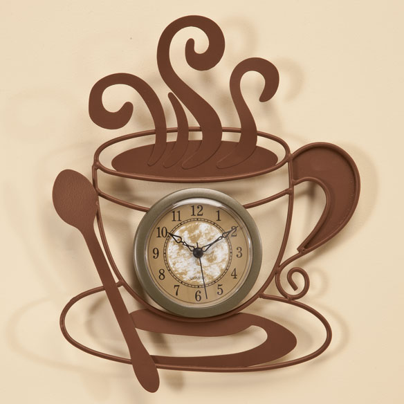 Metal Coffee Cup Clock - View 1